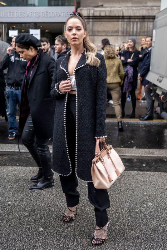 ASHLEY BENSON Arrives at Giambattista Valli Show at Paris Fashion Week 03/02/2020