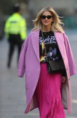 ASHLEY ROBERTS in a Pink Skirt Leaves Heart Radio in London 03/26/2020