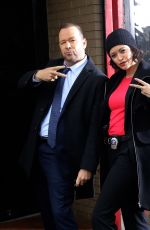 BRIDGET MOYNAHAN and Donnie Walhberg on the set of Blue Bloods in Long Island City 02/27/2020