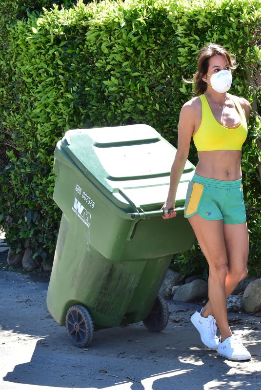 BROOKE BURKE Takes Out Garbage Before Going a Live Yoga Class in Malibu 03/21/2020