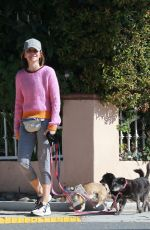 CALISTA FLOCKHART Out with Her Dogs in Los Angeles 03/30/2020