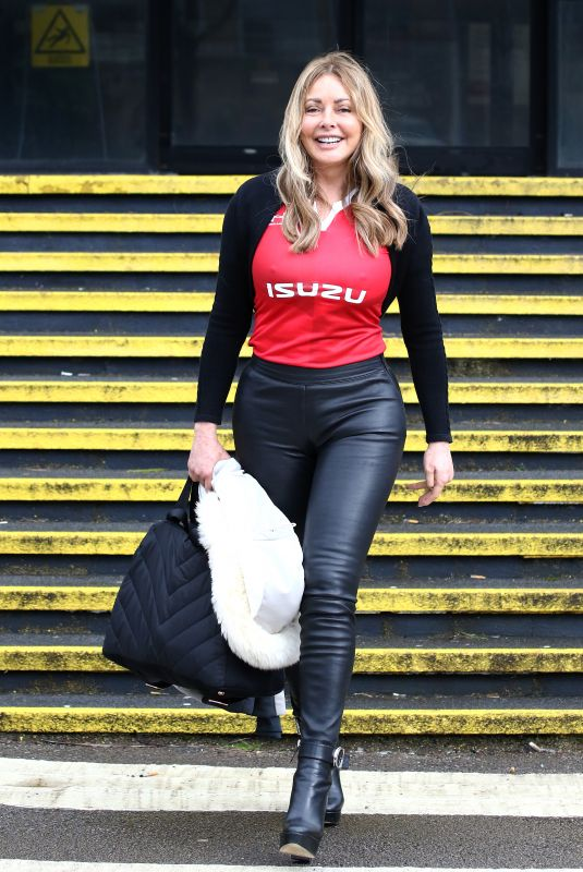 CAROL VORDERMAN Arrives at Her Morning Radio Show Cardiff 03/07/2020