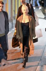 CHRISTINA AGUILERA Arrives at Jimmy Kimmel Live in Los Angeles 03/10/2020