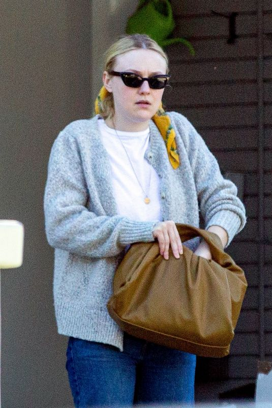 DAKOTA FANNING Outside Her House in Los Angeles 03/21/2020