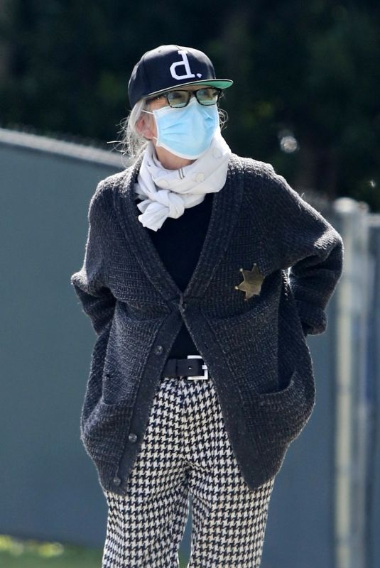 DIANE KEATON Wearing Mask, Latex Gloves and Deputy Sheriff