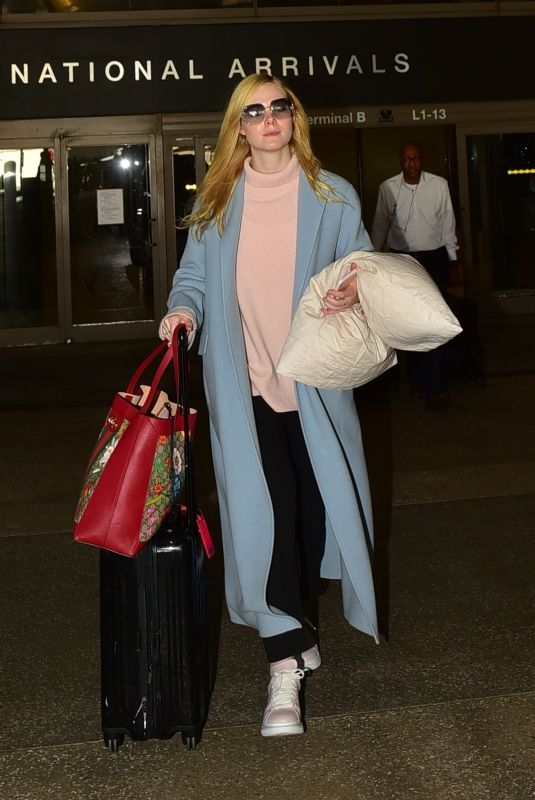 ELLE FANNING at LAX Airport in Los Angeles 02/29/2020