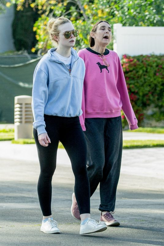 ELLE FANNING Out with Her Mother in Los Angeles 03/18/2020