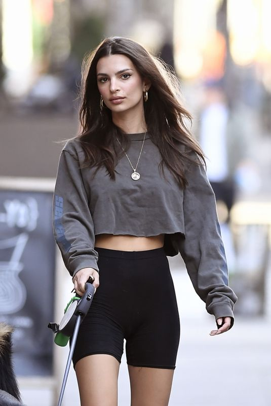 EMILY RATAJKOWSKI in Yoga Shorts Out with Her Dog in New York 03/20/2020