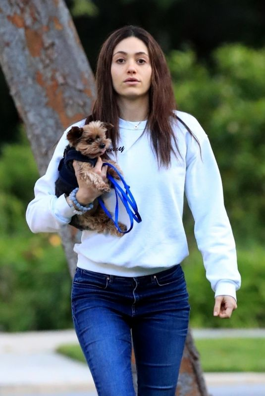 EMMY ROSSUM Out with Her Dog in Beverly Hills 03/30/2020