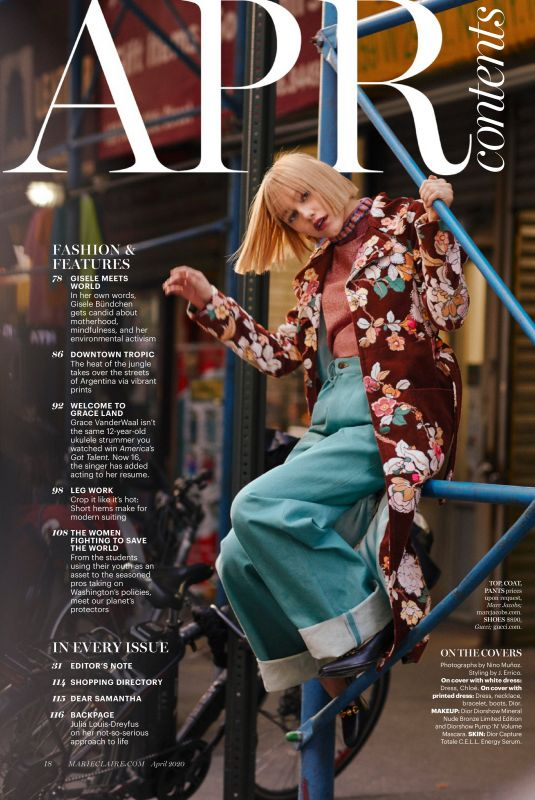 GRACE VANDERWAAL in Marie Claire Magazine, April 2020