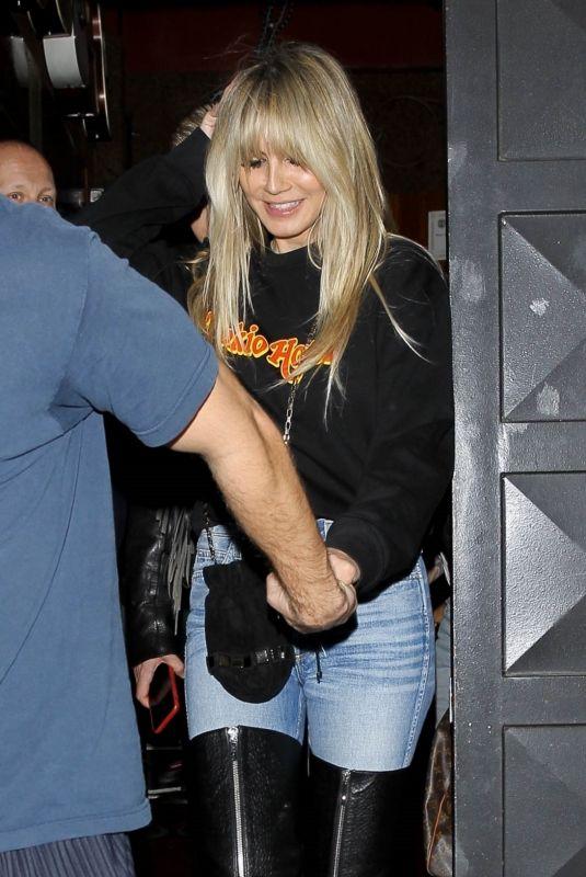 HEIDI KLUM Leaves Troubadour in West Hollywood 03/04/2020