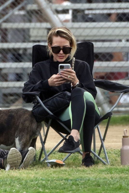 HILARY DUFF at a Soccer Game in Los Angeles 02/29/2020