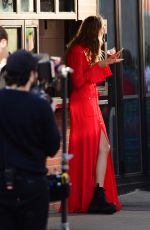 JOSEPHINE SKRIVER Eating a Slice of Pizza on the Set of Maybelline Ads in New York 03/09/2020