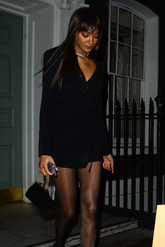 JOURDAN DUNN Leaves Soho House Dean Street in London 03/10/2020