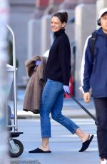 KATIE HOLMES Leaves Her Apartment in New York 03/27/2020