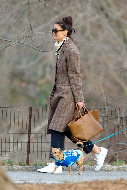 KATIE HOLMES Out at Central Park in New York 03/19/2020