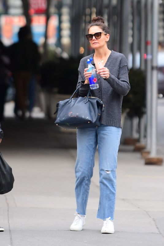 KATIE HOLMES Out in New York 03/11/2020