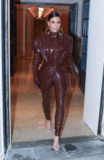 KIMA KARDASHIAN at Balmain Latex Leaves Her Hotel in Paris 03/01/2020