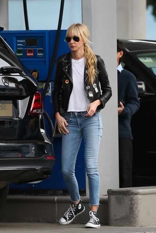 KIMBERLY STEWART in Leather Jacket and Denim at a Gas Station in Beverly Hills 03/05/2020