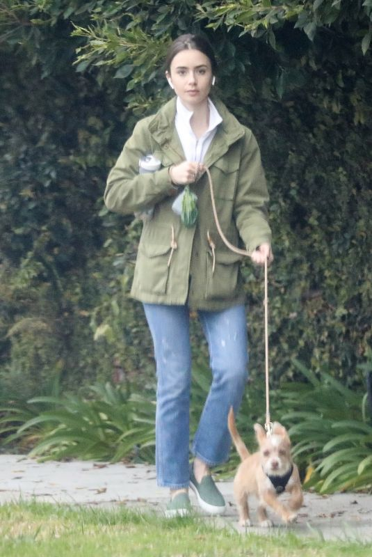 LILY COLLINS Out with Her Dog in Beverly Hills 03/10/2020