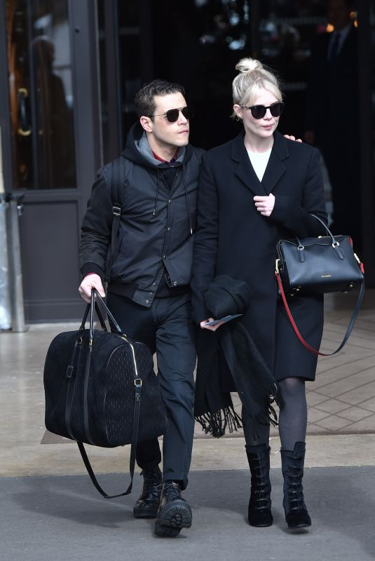 LUCY BOYNTON and Rami Malek Leaves Hotel de Crillon in Paris 02/29/2020