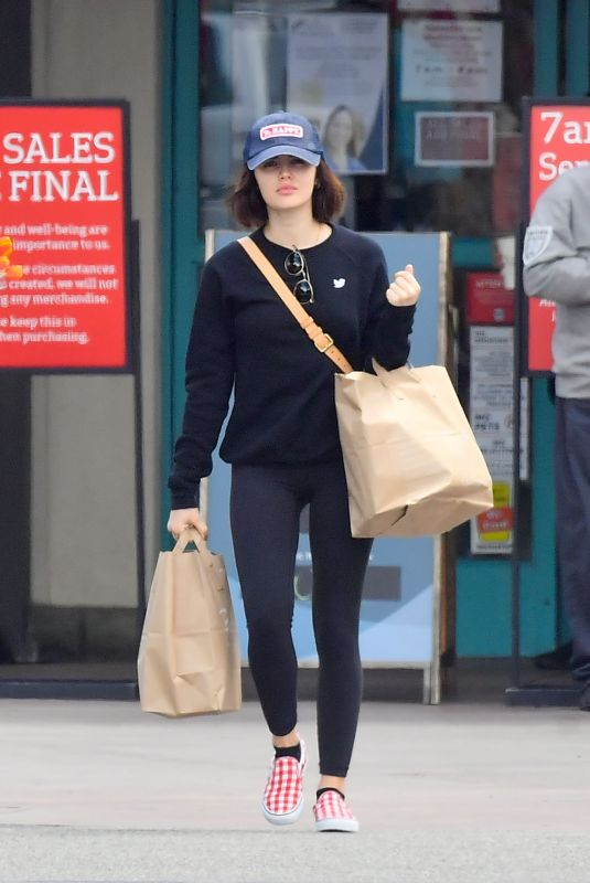 LUCY HALE Out Shopping for Groceries in Studio City 03/25/2020
