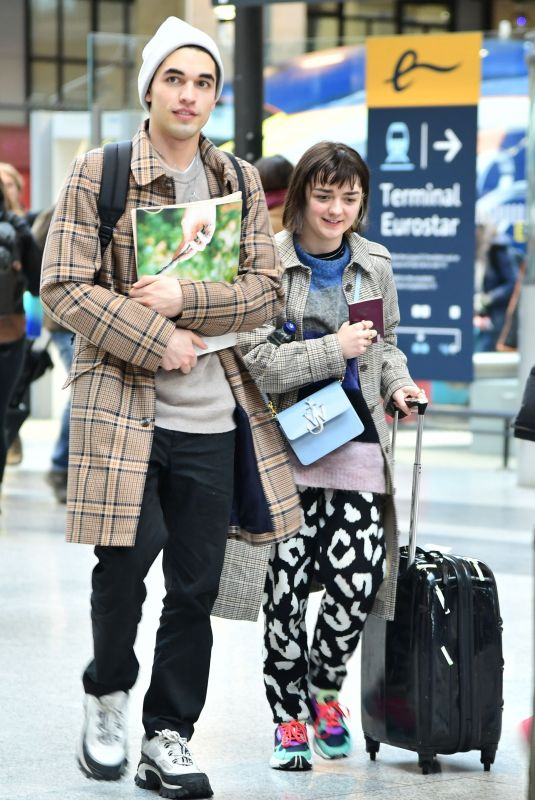 MAISIE WILLIAMS and Reuben Selby at Gare du Nord in Paris 02/29/2020