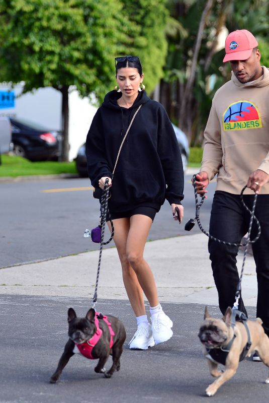 NICOLE WILLIAMS and Larry English Out with Their Dogs in Los Angeles 03/26/2020