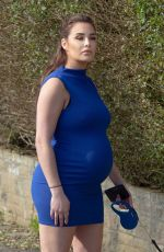 Pregnant CHLOE GOODMAN Out with Her Dog in Hove 03/29/2020