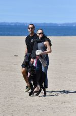 ROBIN WRGHT and Clement Giraudet Out with Their Dog on the Beach in Santa Monica 03/24/2020