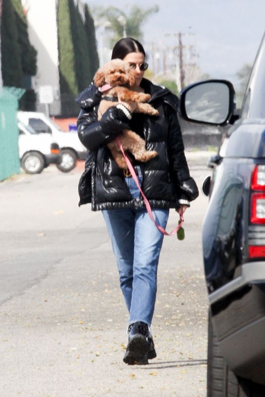 SANDRA BULLOCK Out with Her Dog in Van Nuys 03/01/2020