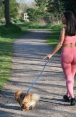 YAZMIN OUKHELLOU in Tights Out with Her Dogs in Harlow 03/27/2020