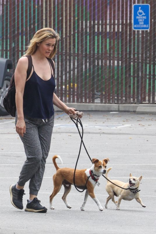 ALICIA SILVERSTONE Out with Her Dogs in Hollywood 04/29/2020