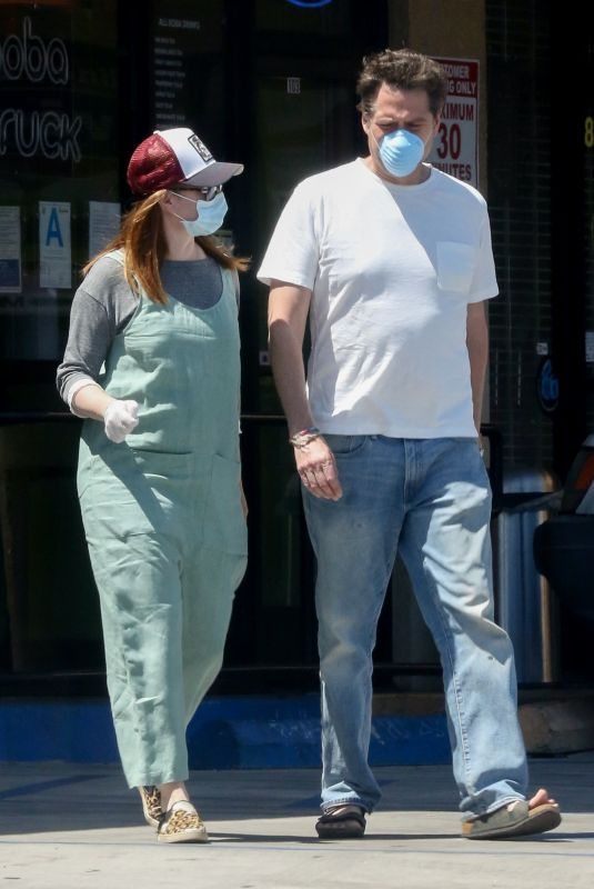 ALYSON HANNIGAN and Alexis Denisof at Boba Truck Cafe in Northridge 04/27/2020