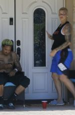 AMBER ROSE and Alexander Edwards in Front of Her Home in Los Angeles 04/25/2020
