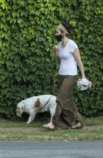 AMY BRENNEMAN Wearing Mask Out with Her Dog in Beverly Hills 04/29/2020