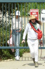 ANDIE MACDOWELL and MARGARET and RAINEY QUALLEY Sneaking Out of Closed Park in Los Angeles 04/19/20