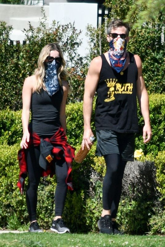 ANNABELLE WALLIS and Chris Pine Wearing Bandna Masks Out in Los Feliz 04/21/2020