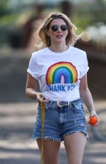 ASHLEY JAMES in Denim Shorts Out with Her Dog in London 04/24/2020
