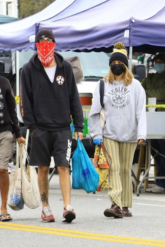 ASHLEY TISDALE and Christopher French Wearing Masks Shopping at Farmer's Market in Los Angeles 04/12/2020