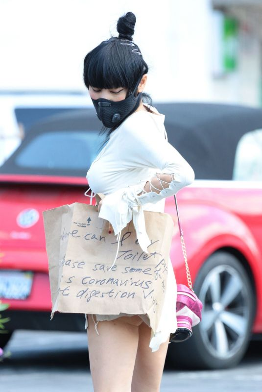 BAI LING Wearing Black Mask Out in Los Angeles 04/21/2020