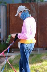 CALISTA FLOCKHART Wearing Bandana Mask Out with Her Dogs in Los Angeles 04/13/2020