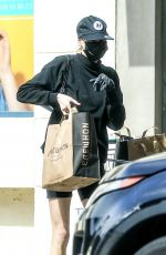 CHARLOTTE MCKINNEY Wearing a Black Mask Shopping at Erewhon Market in Los Angeles 03/31/2020