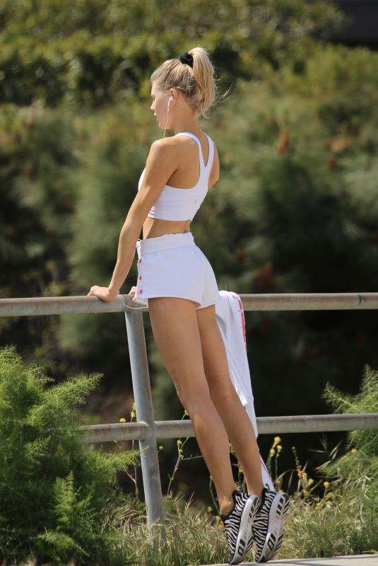 CHARLOTTE MCKINNEY Working Out in Los Angeles 04/05/2020