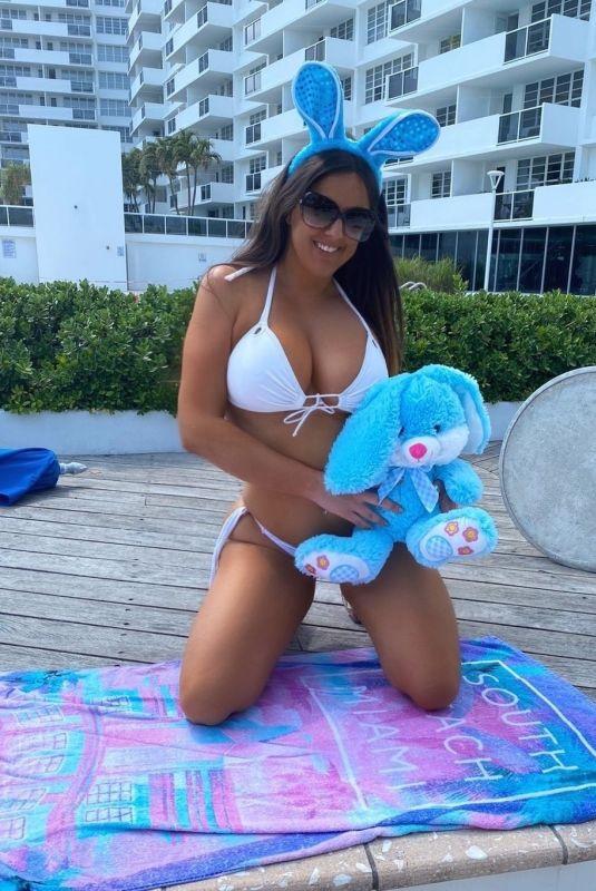 CLAUDIA ROMANI in White BIkini at a Beach in Miami 04/09/2020