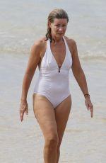 DEBORAH HUTTON in Swimsuit at a Closed Beach in Sydney 04/02/2020