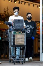DEMI LOVATO and Max Ehrich Wearing Masks Shopping at Erewhon Organic Store in Los Angeles 04/04/2020