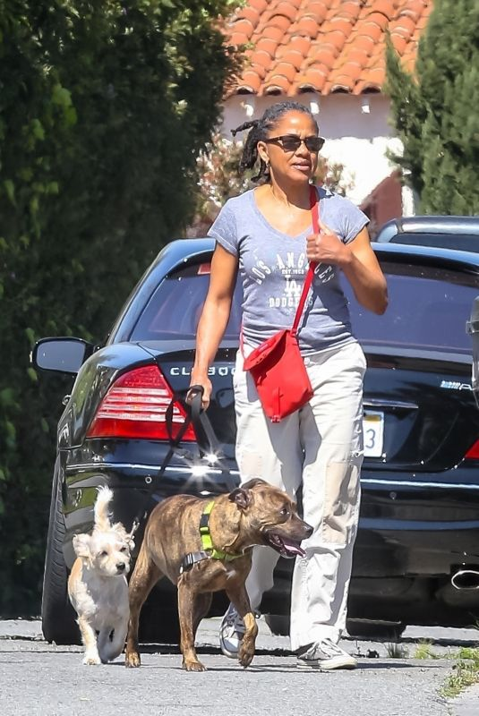 DORIA RAGLAND Out with Her Dogs in Los Angeles 04/01/2020