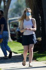ELLE FANNING in Shorts Wearing Mask Out in Sherman Oaks 04/28/2020