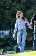 EMMY ROSSUM and Sam Esmail Wearing Rubber Gloves Out with Their Dogs in Los Angeles 04/01/2020